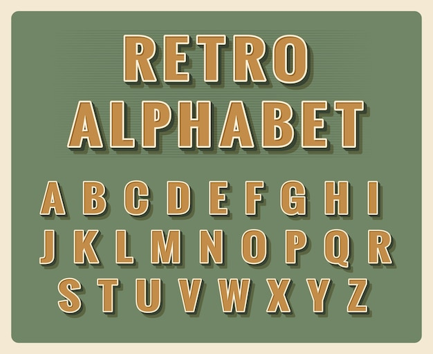 Retro lettertype alfabet. sjabloon vintage typografie, type element.