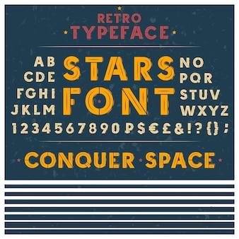Retro lettertype, het latijnse alfabet, hoofdletters, hoofdletters, cijfers