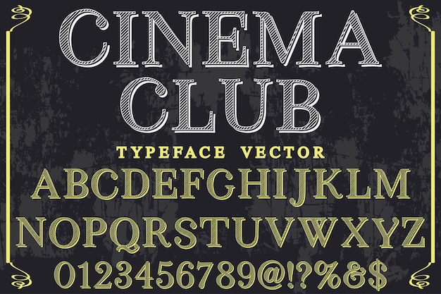 Retro lettertype labelontwerp bioscoop club