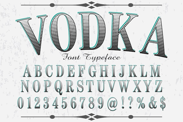 Retro lettertype labelontwerp wodka