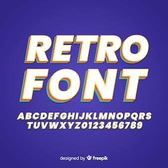 Retro lettertype sjabloon plat ontwerp