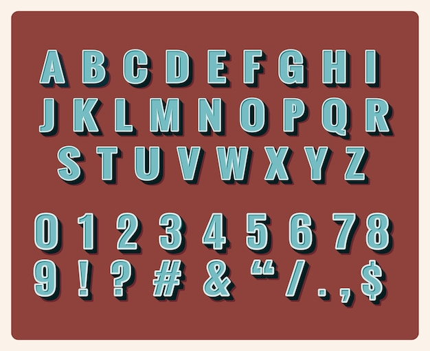 Retro lettertype. symbool vintage, typografie, cijfers en letters