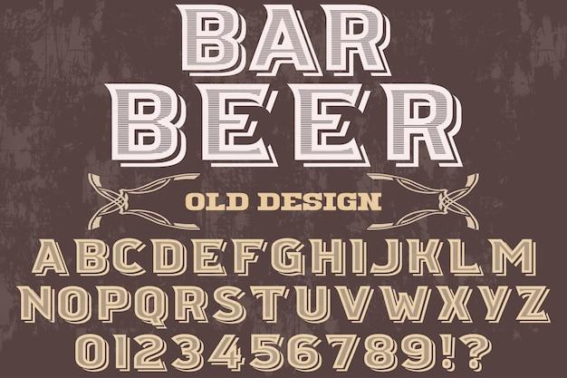 Retro lettertype typografie ontwerp bar bier