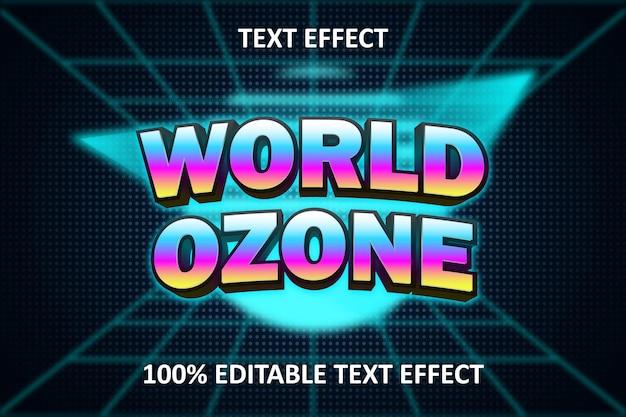 Retro licht bewerkbaar teksteffect regenboog cyaan blauw