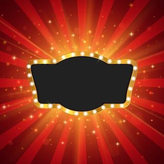 Retro lichte banner. sjabloon ontwerp