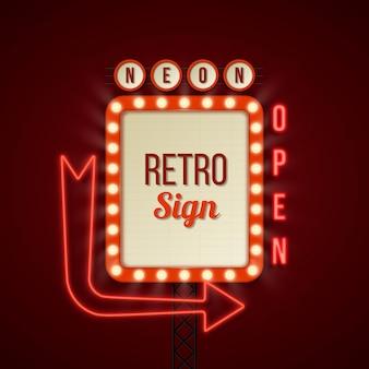 Retro lichtgevend bord in vlakke stijl