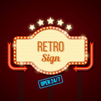 Retro lichtgevende poster in vlakke stijl