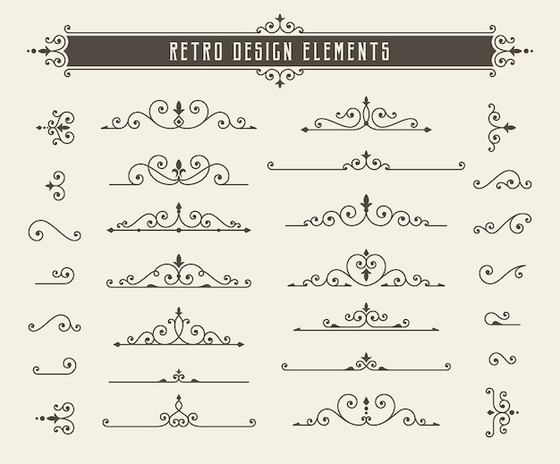 Retro lijn ontwerpelementen