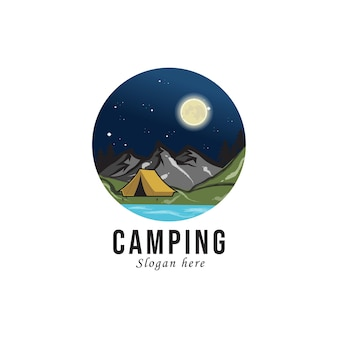 Retro logo buiten kamperen en avontuur.