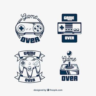 Retro logo-collectie met joystick en elegante stijl