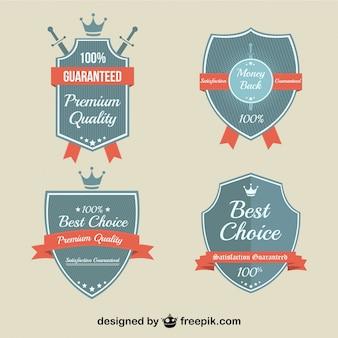 Retro marketing kwaliteit badges