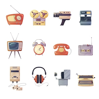 Retro media gadgets cartoon set van kleurrijke entertainment technologische apparaten geïsoleerde vector illust