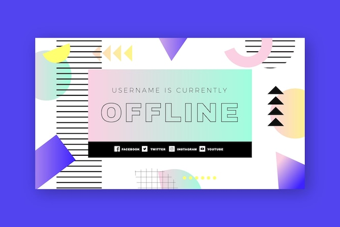 Retro memphis twitch offline sjabloon voor spandoek