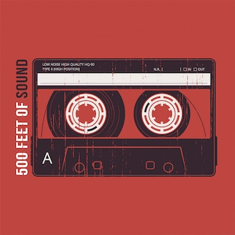 Retro met een cassette. t-shirt en kleding