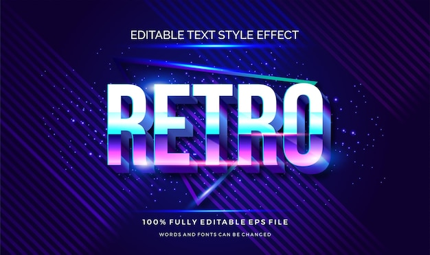 Retro met kleurverloop paars en blauw bewerkbaar tekststijleffect