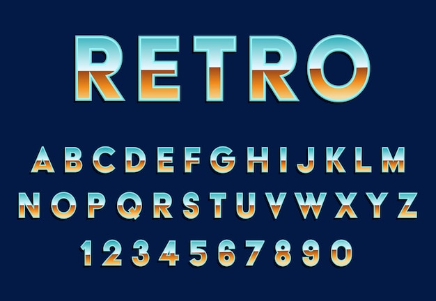 Retro metalen alfabet vector lettertype