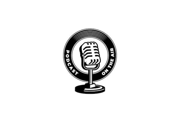 Retro microfoon vectorillustratie ontwerpelement voor podcast of karaoke-logo