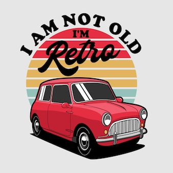 Retro mini car illustratie