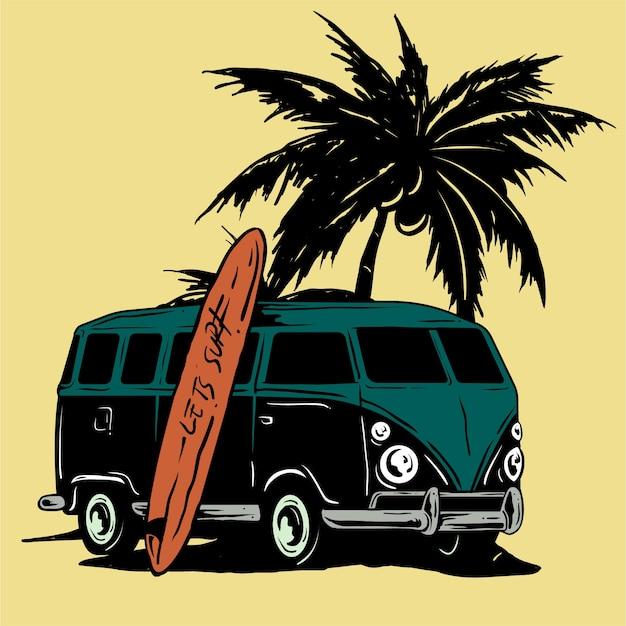 Retro minibusje surfen op het strand