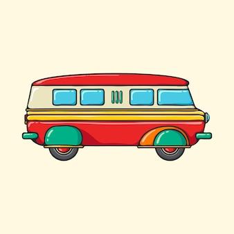 Retro minivan hand getrokken popart stijl illustratie.