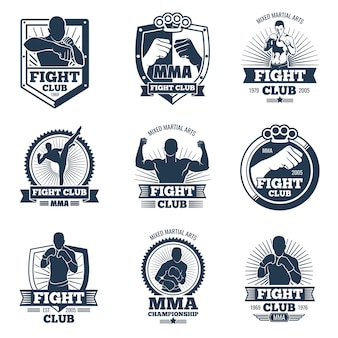Retro mma vector emblemen en labels. vecht club vintage logo's