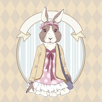Retro mode hand tekenen illustratie van konijn
