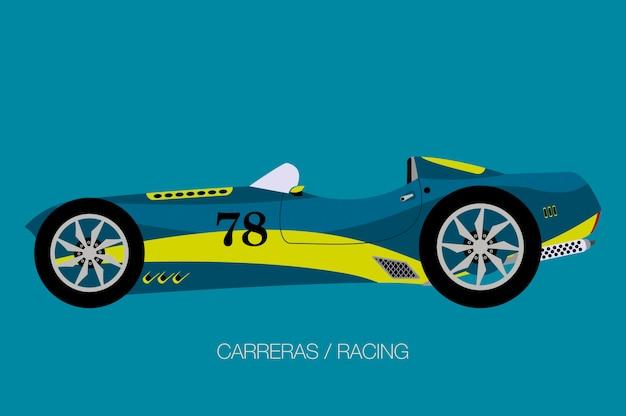 Retro moderne raceauto, vector, zijaanzicht van de auto, auto, motorvoertuig