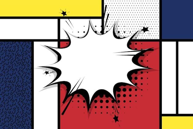 Retro mondriaan rood geel blauw geometrische achtergrond comic tekst toespraak bubble box
