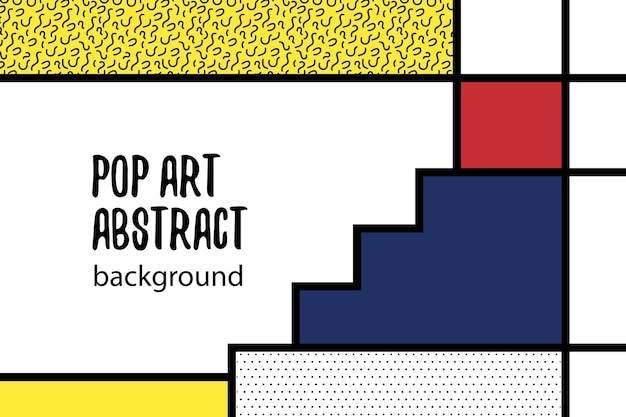 Retro mondriaan rood geel blauw geometrische achtergrond home art design