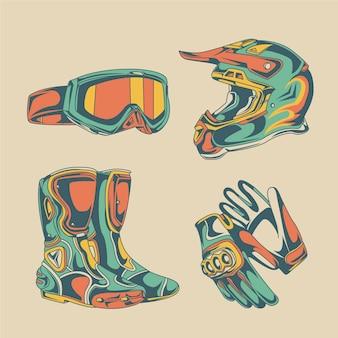 Retro motorcross elementen collectie