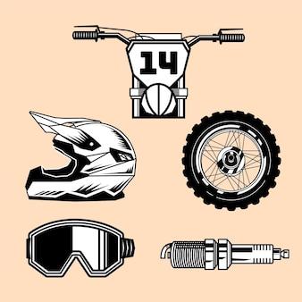 Retro motorcross-elementen