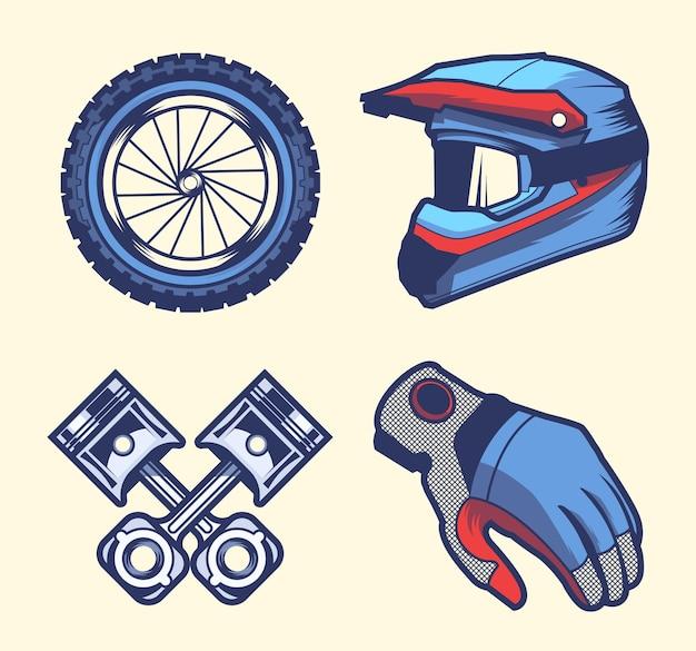 Retro motorcross-elementenpakket
