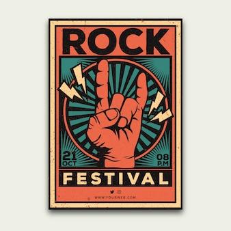 Retro muziek festival poster sjabloon
