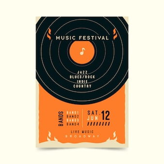 Retro muziek festival poster