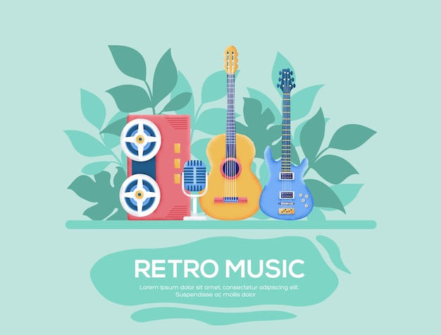 Retro muziek flyer, tijdschriften, poster, boekomslag, banners. .