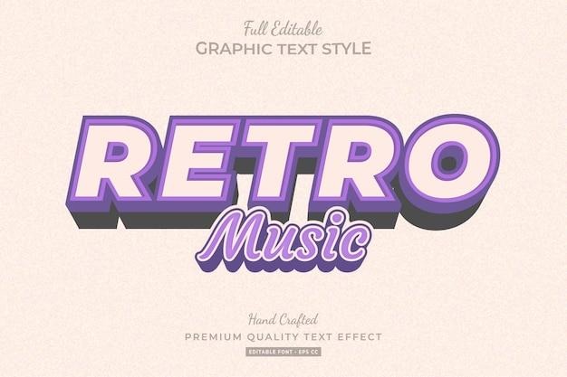 Retro muziek paars bewerkbare teksteffect lettertypestijl