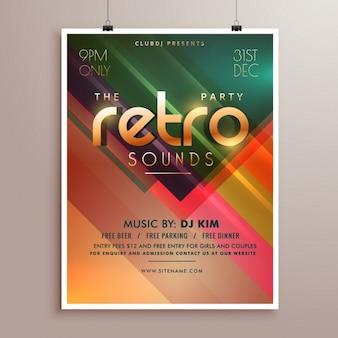 Retro muziek partij event flyer uitnodigingssjabloon