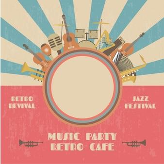 Retro muziek partij poster