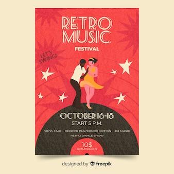 Retro muziek poster sjabloon