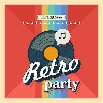 Retro-muziek. vectoraffiche in retro stijl. de vinylplaat. opnamestudio