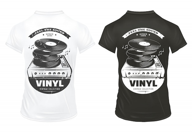 Retro muziekapparatuur wordt afgedrukt op shirts met inscripties, vinylplaten en draaitafel in vintage stijl geïsoleerd