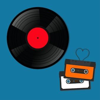Retro muziekopnames, audiocassettes, vinylschijven. vector illustratie.