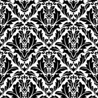 Retro naadloos bloeit patroon in damaststijl