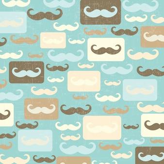 Retro naadloze patroon met snor
