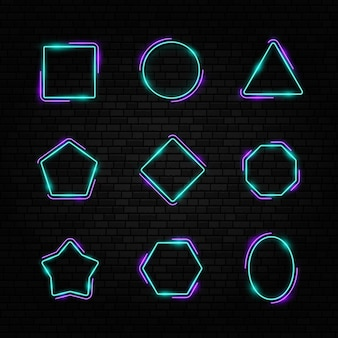 Retro neonreclame led of halogeenlamp grens kleurrijke neon kaderset