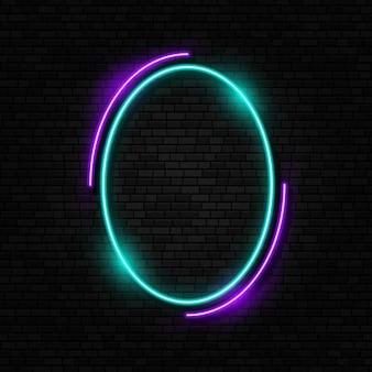 Retro neonreclame led- of halogeenlamprand kleurrijk neon frame