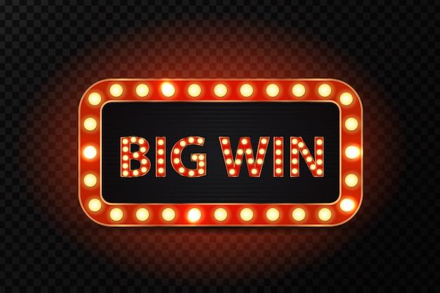 Retro neonreclame voor grote overwinning met gloeiende lampen op de transparante achtergrond. concept van winnaar, casino en prijsuitreiking.
