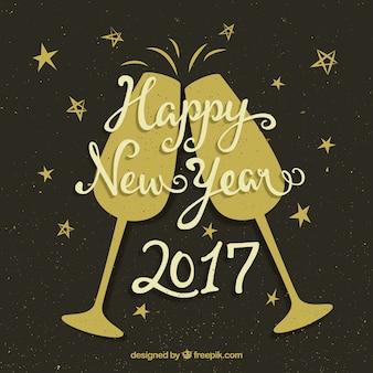 Retro nieuwe jaar toast achtergrond