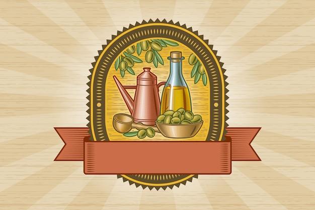 Retro olijvenoogstetiket