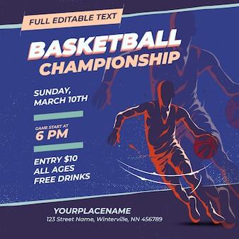 Retro ontwerpsjabloon basketbalkampioenschap